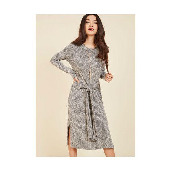 Boho Long Long Sleeve Sweater Dress Destination Determinant Knit Dress ($70) ❤ liked on Polyvore featuring dresses, apparel, fashion dress, grey, long-sleeve sweater dresses, long grey dress, boho dresses, long-sleeve midi dresses and long sleeve dress