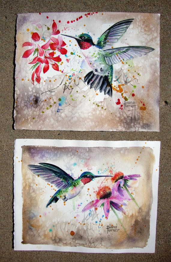 Kolibri Kunstdruck Original Aquarell Giclée-Druck Aquarell Original Kolibri Gemälde Wanddekoration