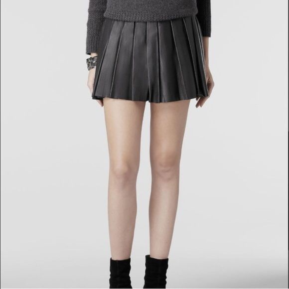AllSaints Flore Leather Pleated Skirt Gorgeous black leather skirt. In excellent condition. Schoolgirl look. High waisted. Silver hardware. Size 6. No trades! All Saints Skirts Mini