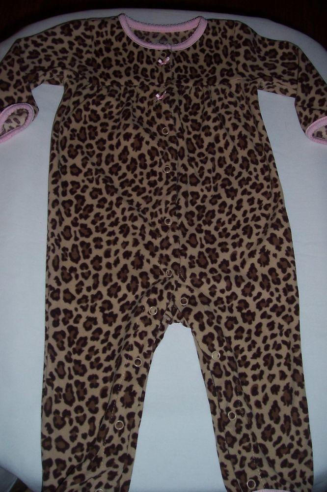 d1b6b400d Carter s Girls 9 Months 1Piece L sleeve  leg Leopard print romper ...