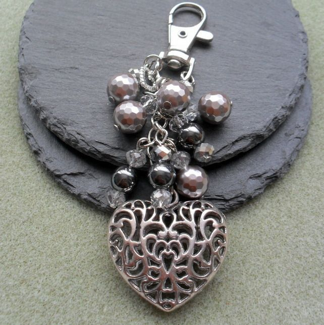 Antique Silver Heart Sparkle Bag Charm Stocking Filler £7.00
