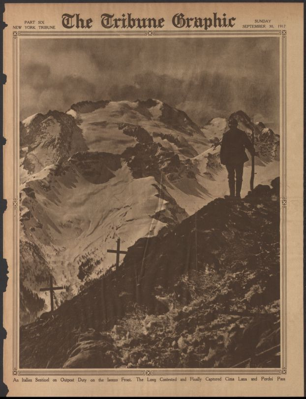 "WWI covered live on Twitter: ""New-York Tribune Sep 30 1917 Italian soldier at the much fought over Cima Lana and Pordoi Pass https://t.co/a5oBiPzHKE https://t.co/PEth8iQRgM"""