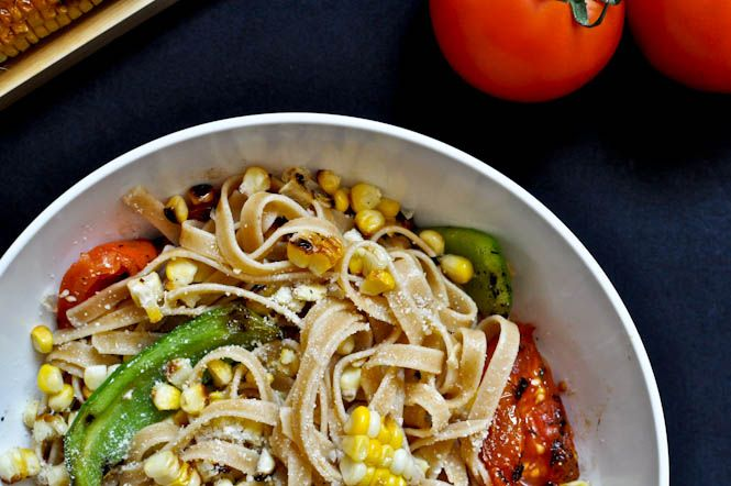 Grilled Corn and Tomato Fettuccine | Tomatoes, Pasta and Veggie Pasta