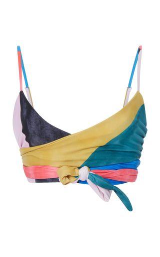 This **Mara Hoffman** Mila Wrap Bikini Top features a wraparound design.