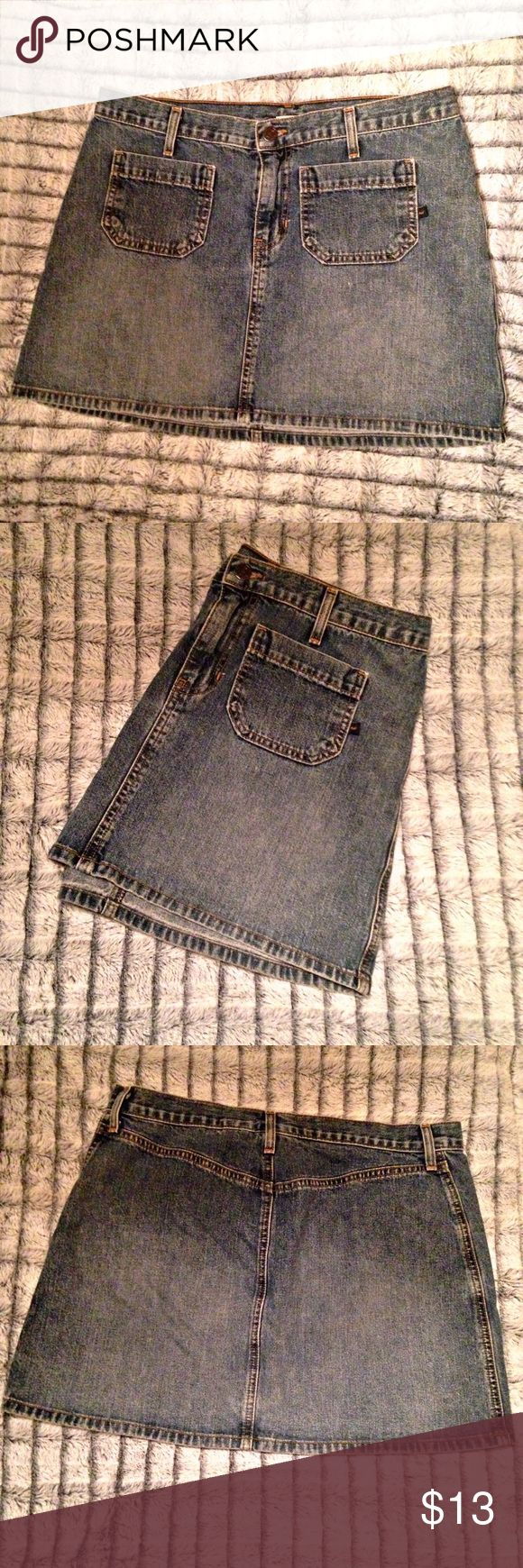 """Abercrombie and Fitch jean skirt Abercrombie and Fitch size 8 jean skirt. Has two pockets in the front and none in the back. 33 1/2"""" waist. 14"""" from waist to bottom hem. Abercrombie & Fitch Skirts Mini"""