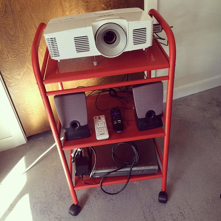 I bought a projector a while back and it's been so much fun watching movies HUGE after the kids go to bed: The projector is reasonably portable as-is, but I started thinking about those old A/V carts...