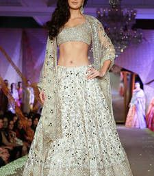 Buy Cream bangalore silk embroidered unstitched lehenga choli lehenga-choli online