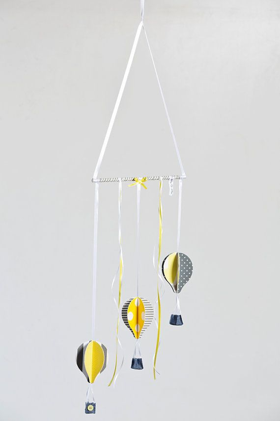 Yellow gray and white hot air balloons Baby crib mobile. A wonderful, gender neutral baby shower gift. The perfect addition for your baby yellow and gray