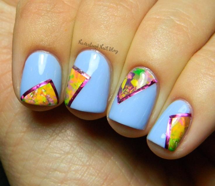 Neverland Nail Blog: Nail Polish, Nails Mani Asked, Beautiful Nails, Nail Colors, Nail Designs, Awesome Nailart, Blue Colors, Geometric, Nail Art