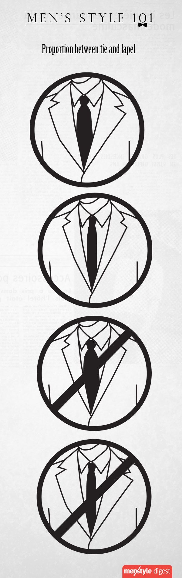Not sure which tie goes with which suit jacket? Here's a quick cheat sheet on how to pair your tie with your suit jacket's lapel.