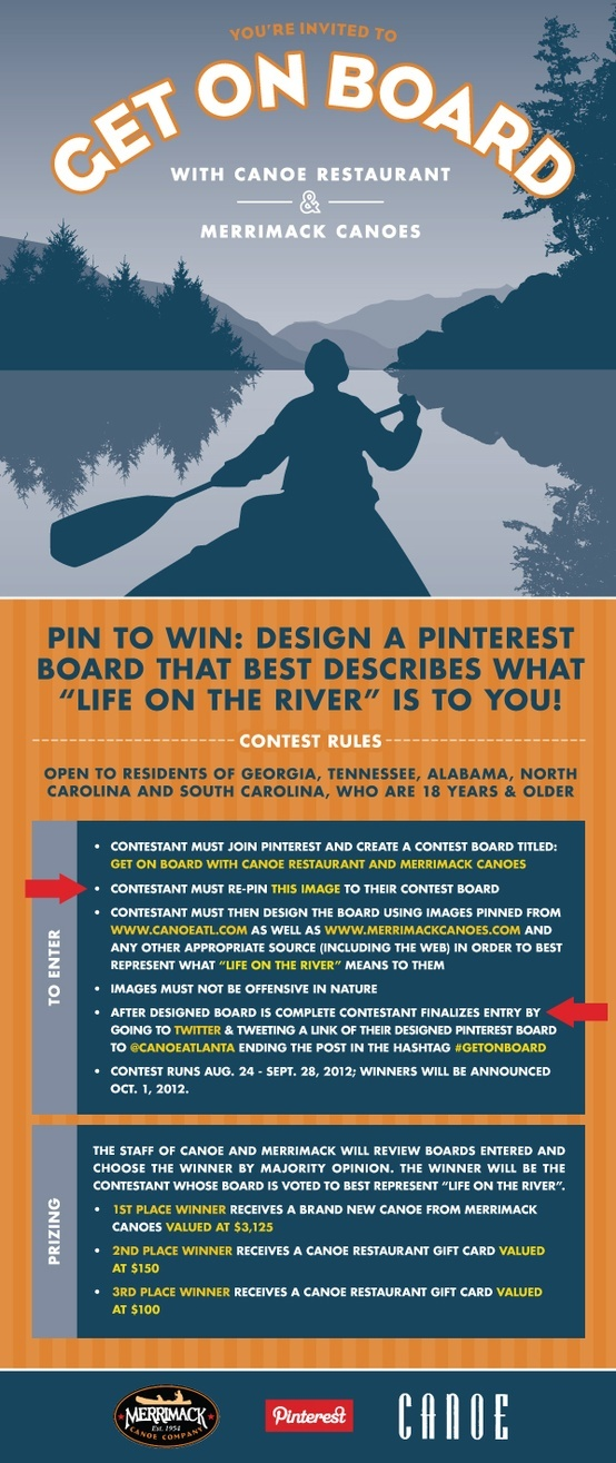 "Official ""Get On Board"" Contest Image for Canoe Restaurant and Merrimack Canoes. Win a canoe valued at over three thousand dollars, as well as other great prizes! Canoe Restaurant is located in Atlanta, GA. Merrimack Canoes is headquartered in Sil"