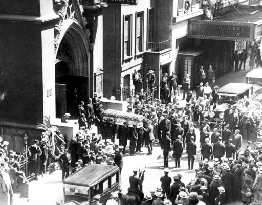 "Rudolph Valentino's Funeral at St. Malachy's Catholic Church (""The Actors' Chapel"") 