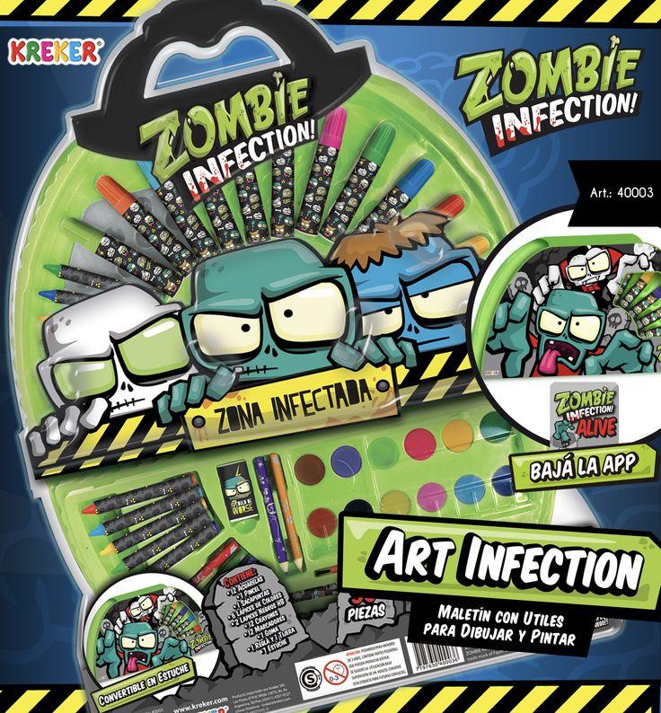 """ART INFECTION Articulo 40003.Contiene: 12 Acuarelas, 1 Pincel, 1 Sacapuntas, 6 Lápices de Colores, 2 Lapices Negros HB, 12 Crayones, 12 Marcadores, 1 Goma, 1 Regla y 1 Tijera, 1 Estuche Tamaño 50 x 38 cm. Baja la app """"Zombie Infectio Alive"""" Con realidad aumentada!"""