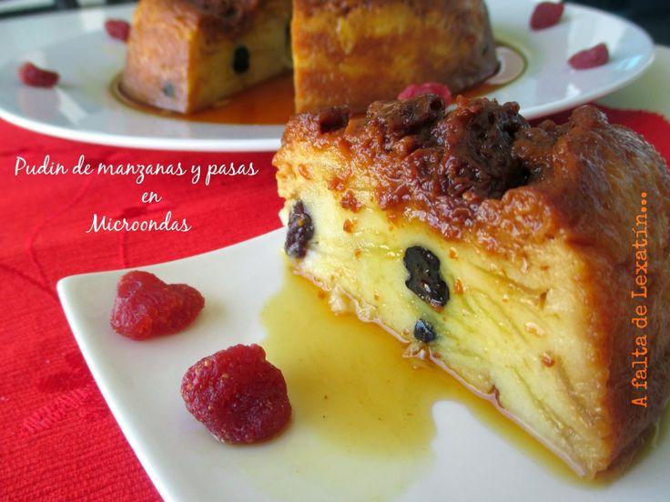 A falta de Lexatín... buenas son tortas: Pudin de manzana y pasas en microondas