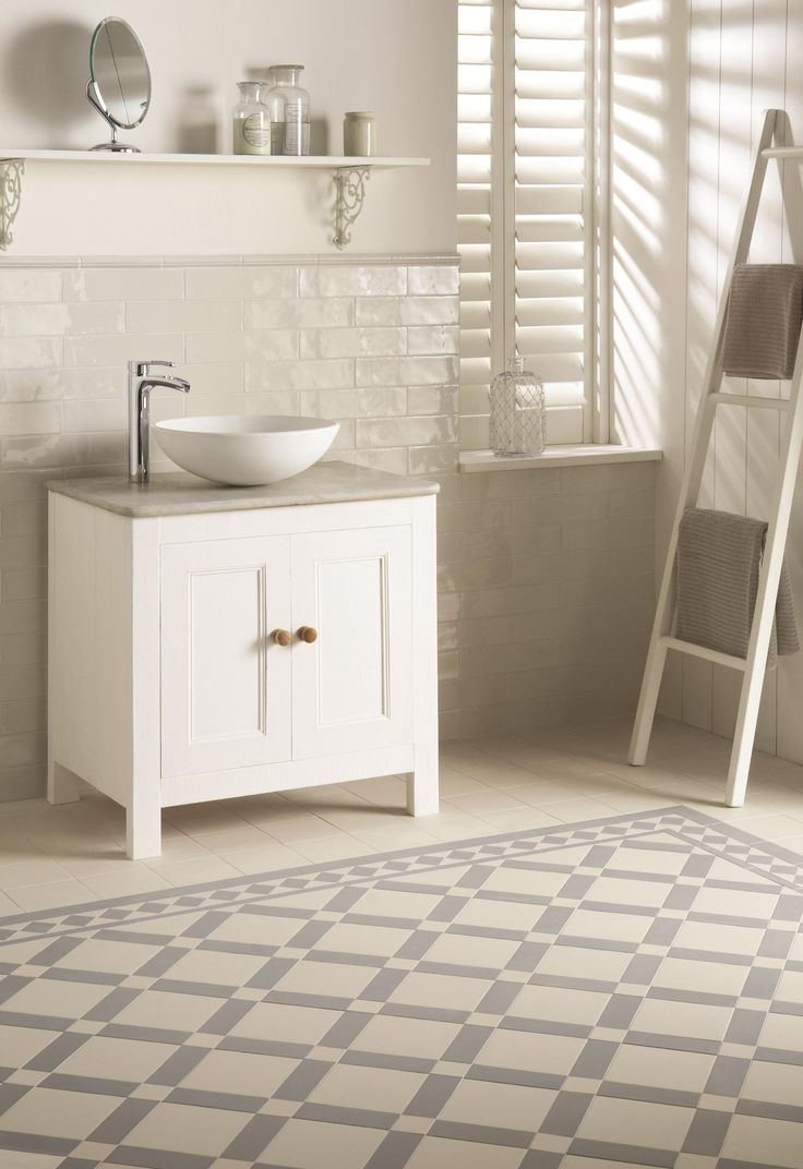Bathroom floor towels - Victorian Floor Tiles In Grey And Dover White