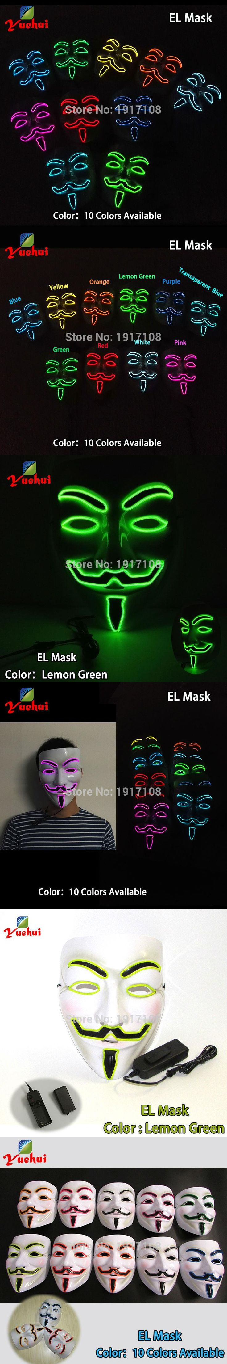 Newest Halloween 10 Style Vendetta Mask glowing Party decor LED neon Mask With DC-3V Driver For Festival  Halloween Decoration