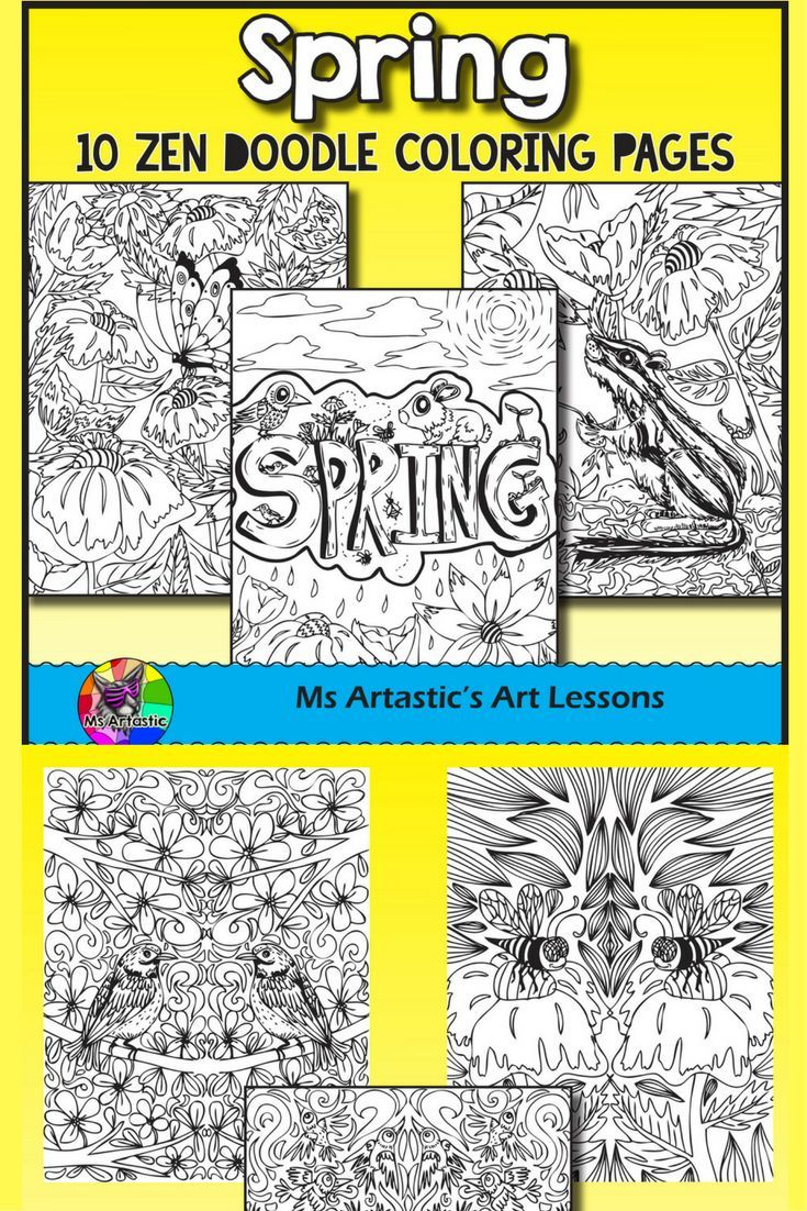 Spring coloring pages for upper elementary - Spring Coloring Pages Zen Doodles
