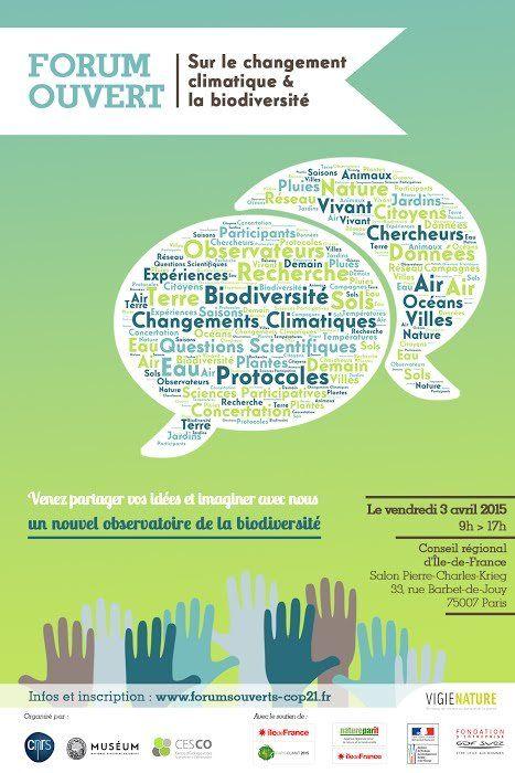 Forums ouverts sur la #biodiversité et le changement climatique http://www.pariscotejardin.fr/2015/04/forums-ouverts-sur-la-biodiversite-et-le-changement-climatique/