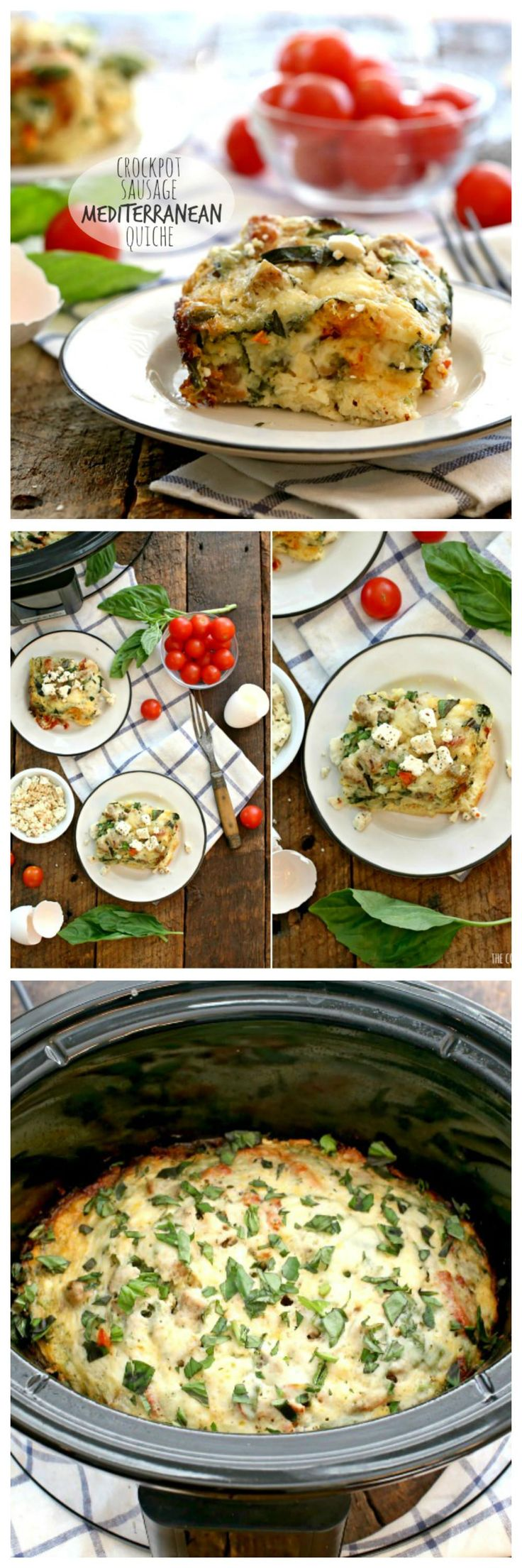 crockpot healthy sausage mediterranean quiche recipe