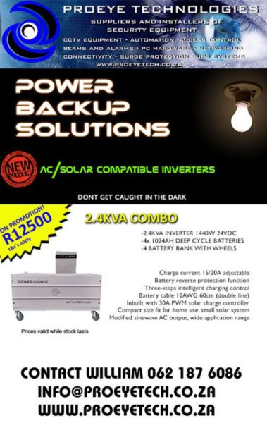 2.4kva inverter for sale, includes 4 deep cycle batteries and a battery trolley