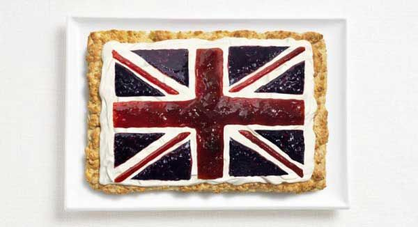 'Flags made with typical food of each country.