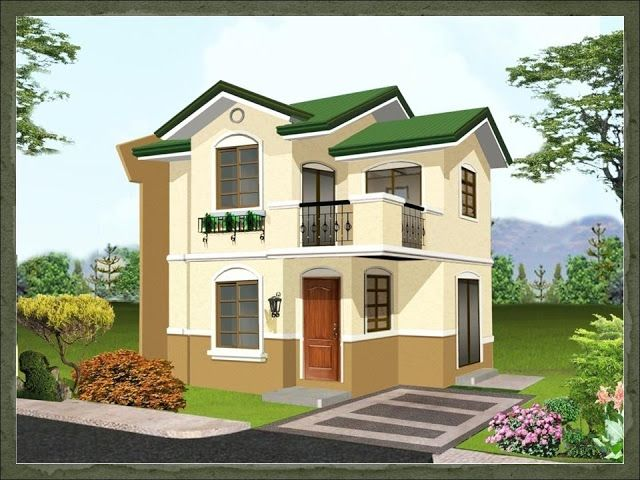 A two storey 2 bedroom home fitting in a 88 square meter 8 meters x 11 meters lot with a net for Home design philippines small area