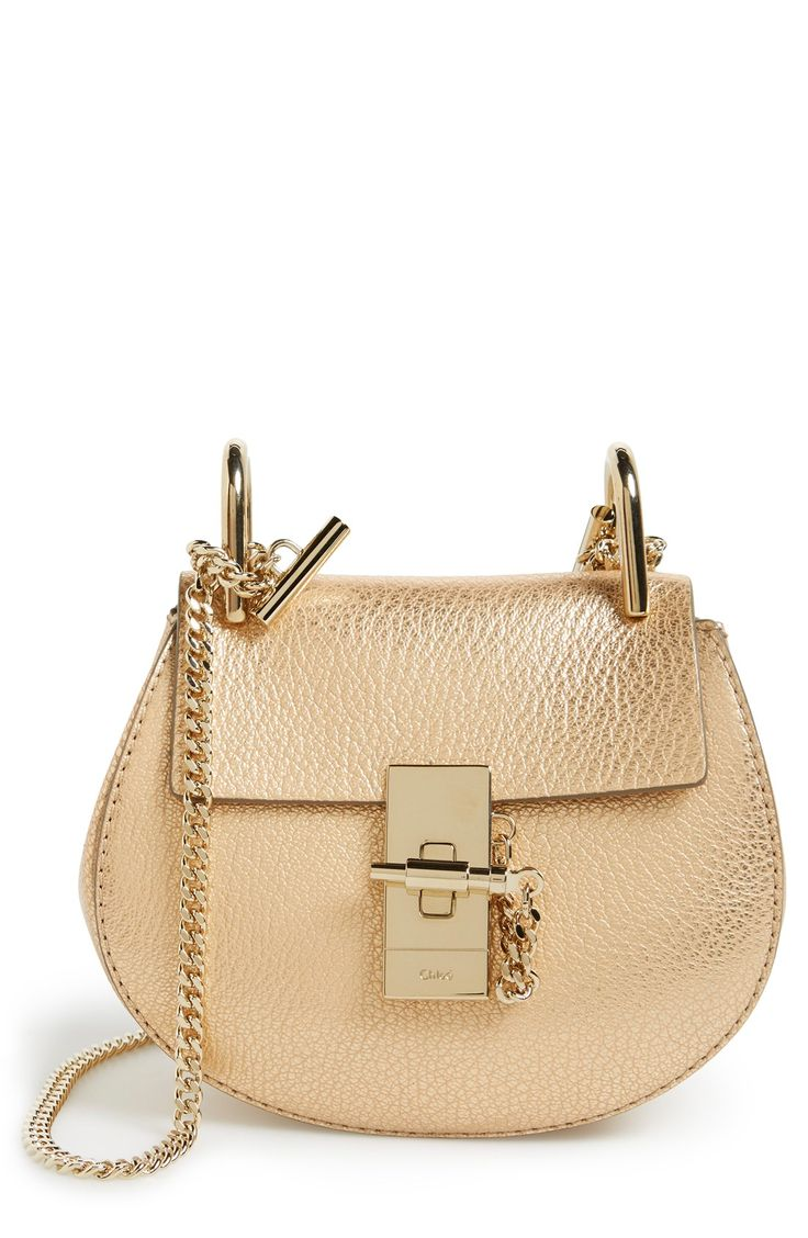 Chloe \u0026#39;Nano Drew\u0026#39; Metallic Leather Shoulder Bag | Chloe Handbags ...