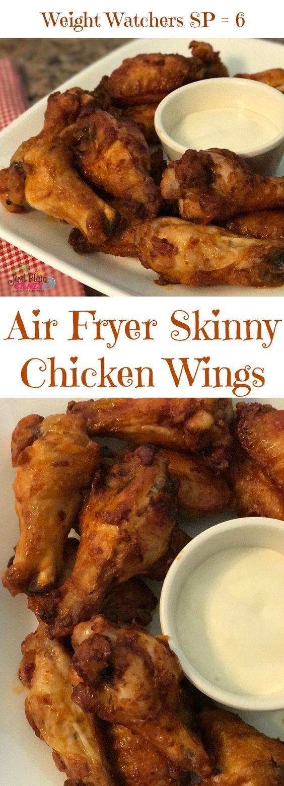 Air Fryer Buffalo Style Skinny Chicken Wings Recipe WW SP 6  #JustPlumCrazy #AirFryer #WeightWatchers #SmartPoints