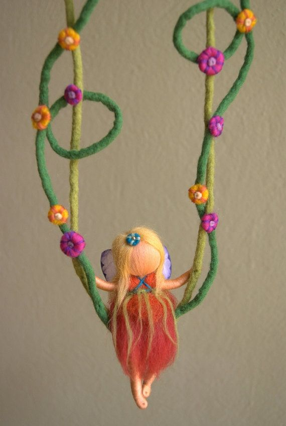 Fairy on a swing summer  waldorf inspired felted by byNaturechild, $60.00