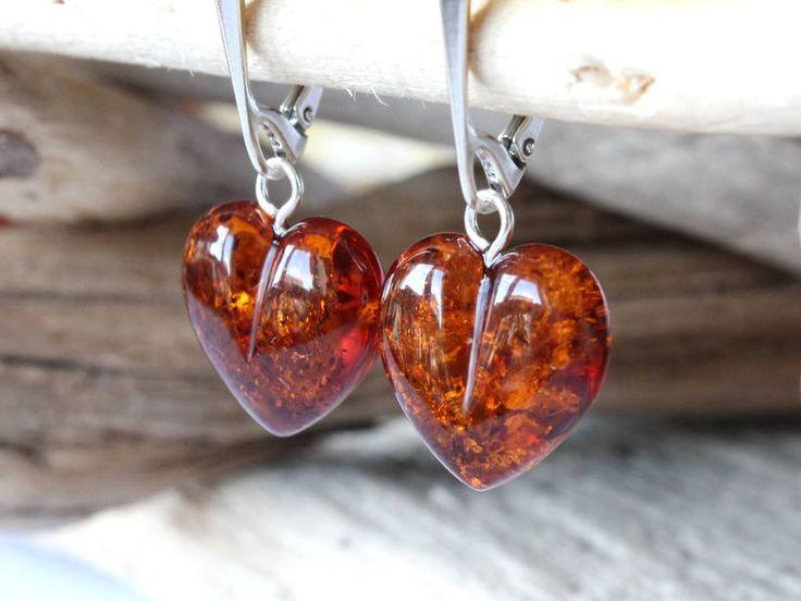 Heart amber earrings, jewelry earrings, love amber jewelry, natural Baltic amber, heart gemstone earrings, gold amber earrings, love jewelry by AmberDesign8 on Etsy