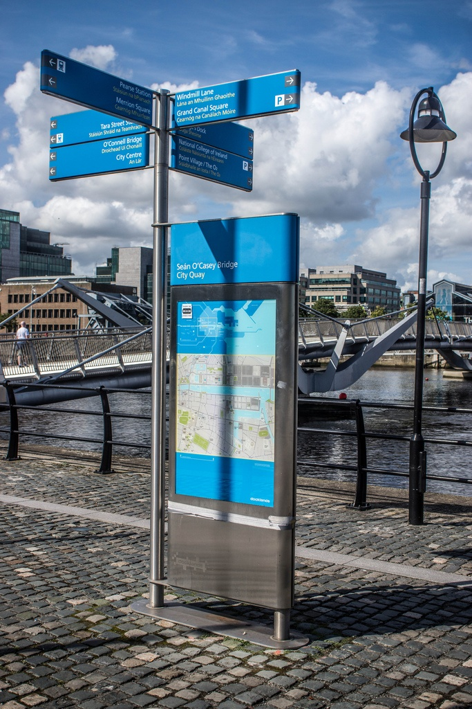map and post with directional signs    Dublin Docklands - City Quay and the new wayfinding signs being put up throughout the city. #wayfinding #signage