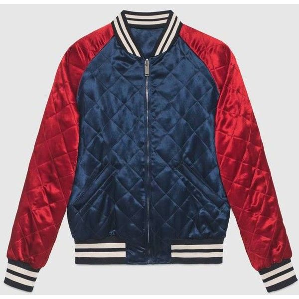 Gucci Gucci Stripe Reversible Acetate Bomber ($2,545) ❤ liked on Polyvore featuring men's fashion, men's clothing, men's outerwear and gucci mens clothing