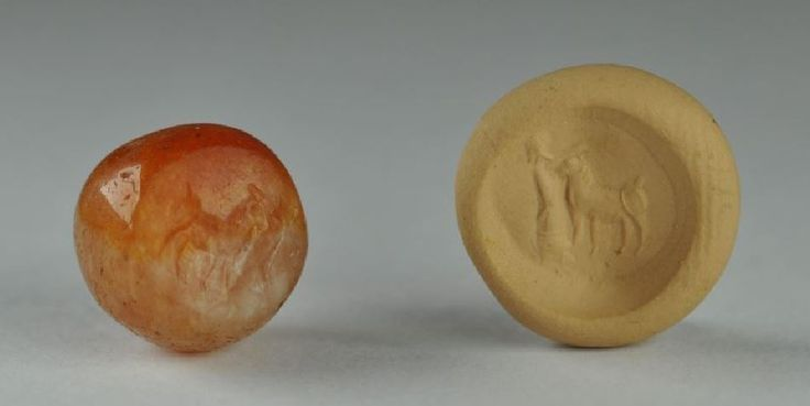 Mesopotamian stamp seals, Sasanian seal, 3rd-6th century A.D. Wiyh man in front off a caw. Private collection