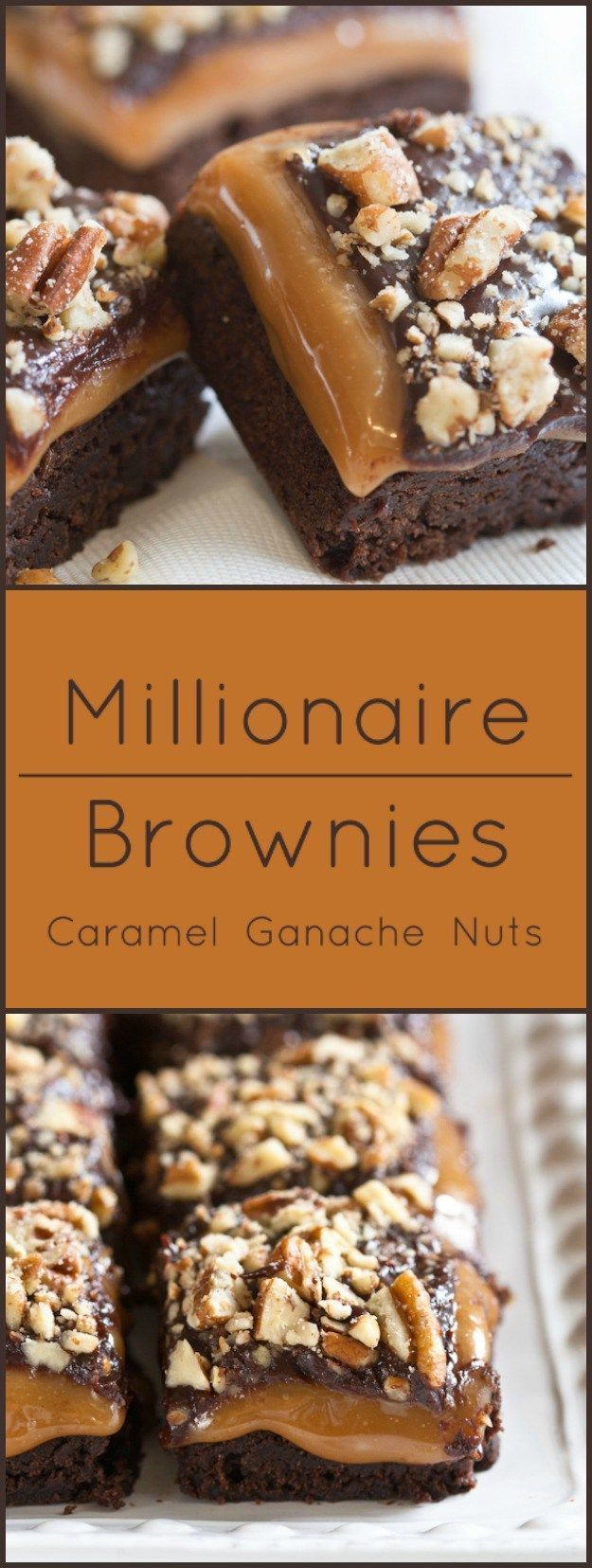 Millionaire Brownies. Moist brownies layered with caramel, ganache and nuts.