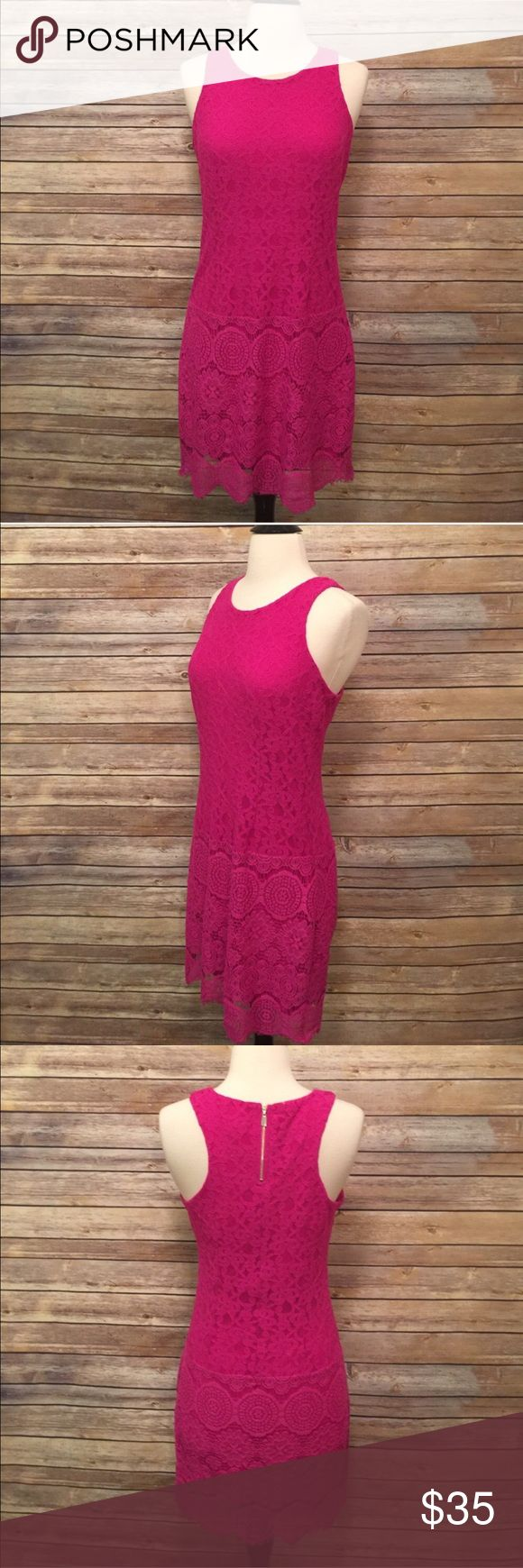 """Laundry by Shelli Segal Lace Dress Stunning Pink/Magenta lace dress by Laundry by Shelli Segal.  In excellent condition! Bust 36"""" Length 34"""" Laundry By Shelli Segal Dresses"""