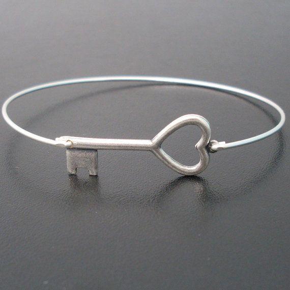 Silver Key Bracelet Heart Key Bangle Bracelet by FrostedWillow, $15.95