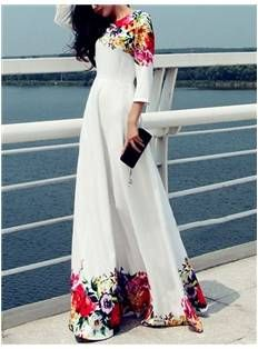 Maxi Dress with Floral Trim - Code Women