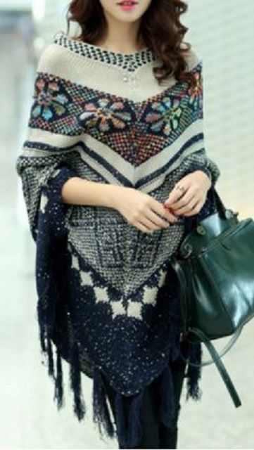 Gorgeous Colors! Chic Ethnic Jacquard Dolman Sleeve Tassel Fringe Poncho Shawl For Women #Ethnic #Style #Bohemian #Tassel #Fringe #Poncho #Fashion