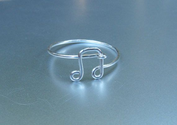 Sterling Silver Music Note Ring, Wire Music Ring, Silver Music Ring, Dainty Ring, Music Ring, Best Friend Ring I had to look at this for a minute, but now I like it.