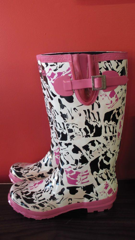 Women s Thomas Cook Cleo Cow Gumboot, Size 10