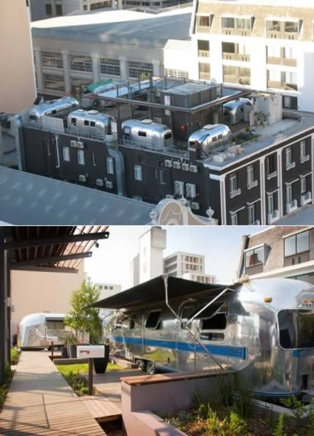 The Grand Daddy Hotel (in Cape Town, Africa) offers 7 vintage Airstream Trailers on their rooftop.  Each trailer has a different theme.