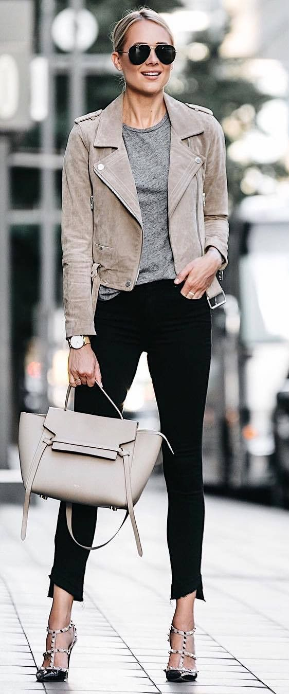 fall casual outfit : grey biker jacket + top + bag + heels + skinnies** I would change the heels to boots or sneakers!