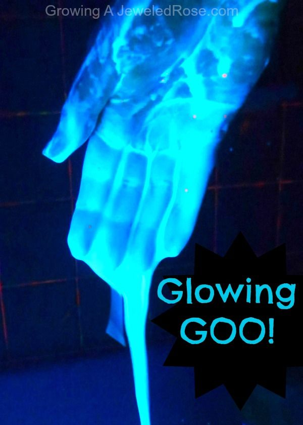 Glowing Goo! Easy to make and so fun, especially for Halloween!