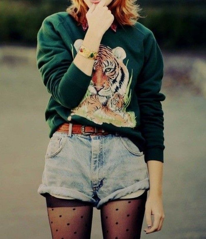 Blue Denim Shorts and Animal print sweater