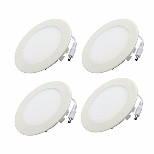 KINGSO 4Pack 658inch 12W Dimmable Ultrathin Round LED Panel1200lm 110V Recessed Ceiling Light for Office Home Commercial Decoration Pure White * Click on the image for additional details.