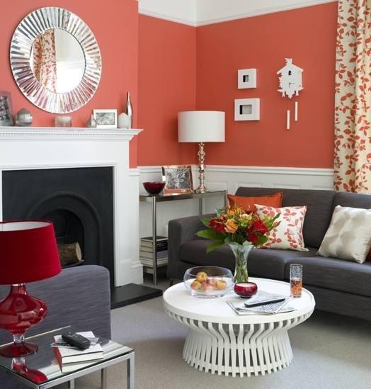 coral and dark gray living room! :) sooo cute!
