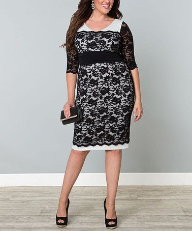 Love this Black & White Lace RSVP Cocktail Dress - Plus on #zulily! #zulilyfinds
