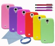 Worldshopping Pack of 6 Soft Silicone Rubber Skin Case Cover for Samsung Galaxy S4 SIV (Red, Pink, Hot Pink, Yellow, Purple, Light Green) + Free Accessories $9.99