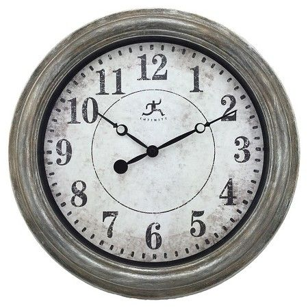 Infinity Instruments Aged Silver And Gold Wall Clock - Silver : Target