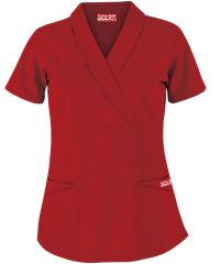 Butter-Soft Scrubs by UA™  Solid Shawl Collar Mock Wrap Top